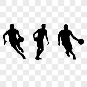 篮球运动员运球剪影图片