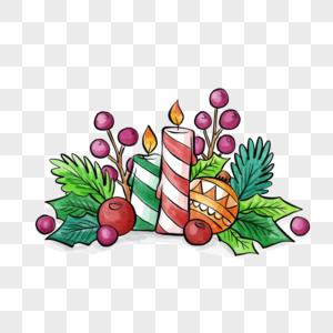 圣诞节花卉蜡烛元素图片