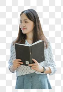 校园教室文艺甜美女孩拿着书图片