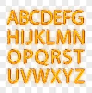 黄色灯光26个英文大写字母图片