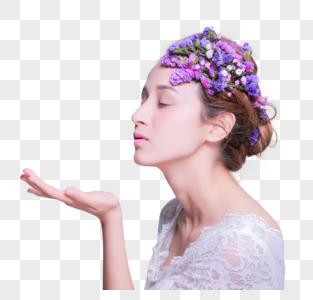 清新花艺创意妆面美女侧脸图片