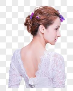 清新花艺创意妆面美女背侧脸图片