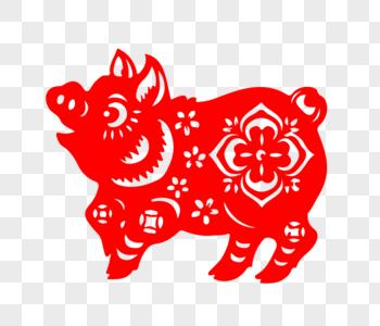 红色猪剪纸图片