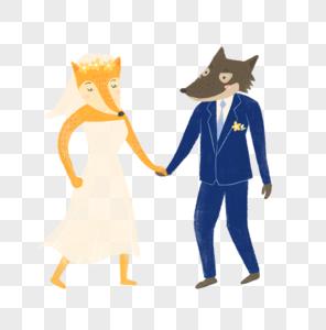 狐狸婚纱照图片