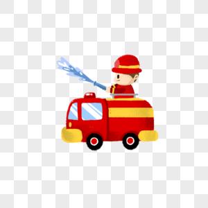 在消防车上喷水的消防员图片