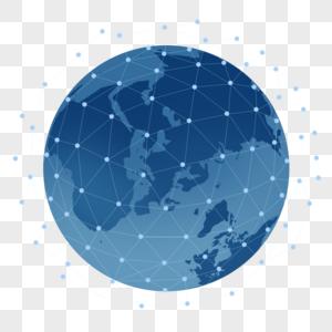 蓝色科技立体地球元素图片