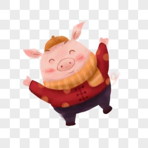 开心的猪图片