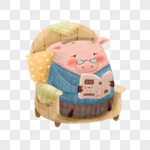 看书的猪图片