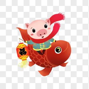 骑着鲤鱼的猪图片