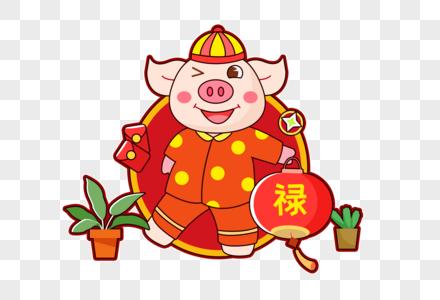 送灯笼的猪图片
