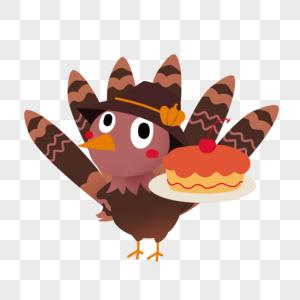 感恩节拿着蛋糕的火鸡图片