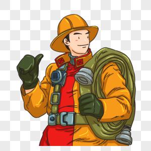 背管子的消防员图片