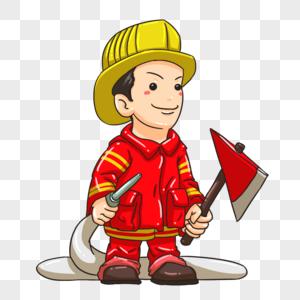 手持水管和斧子的消防员图片