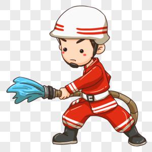 手持水管的消防员图片