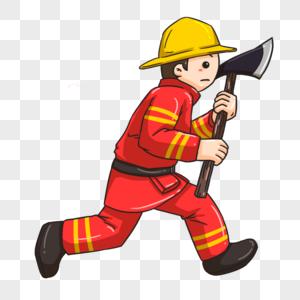 手持斧子的消防员图片
