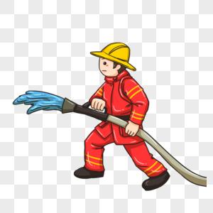 喷水的消防员图片