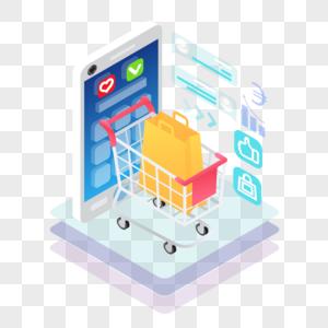 扁平立体手机购物元素图片
