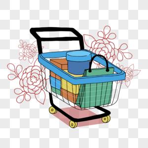卡通彩色购物车元素.图片