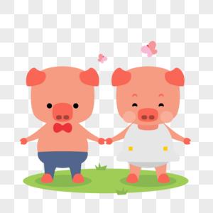 可爱清新小猪牵手过春节图片