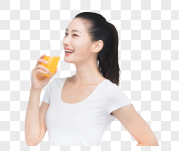 美女喝果汁图片