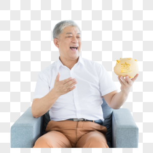 老年人和存钱罐图片