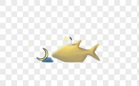 鱼背上的女孩图片