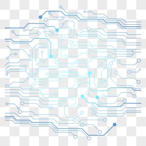 蓝色简约科技芯片纹路图片