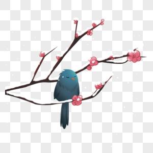 雪树枝头小鸟装饰素材图片