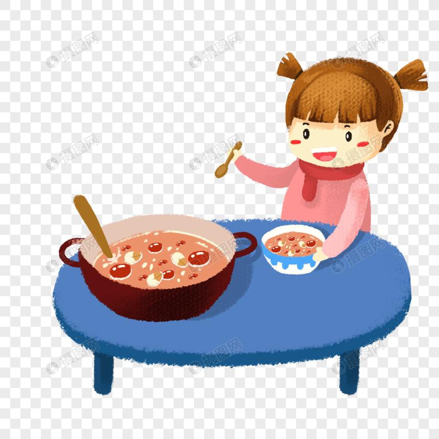 手绘吃腊八粥的小女孩