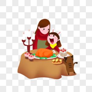 和妈妈一起吃大餐图片