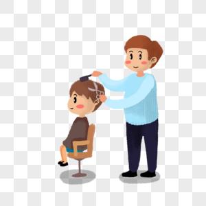 理发的小男孩图片