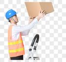 仓储物流男性检查货物图片