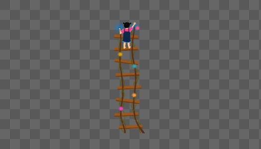 爬梯子的女孩图片
