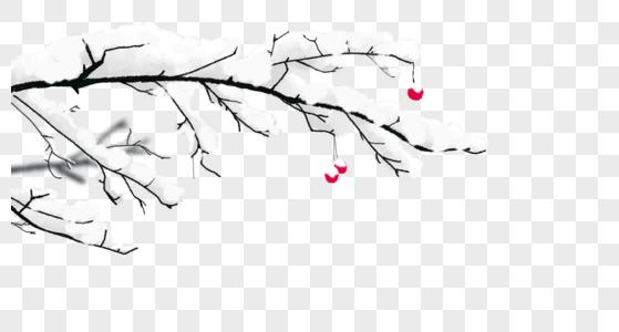 大雪树枝图片