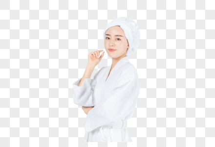 侧面穿浴袍美女图片