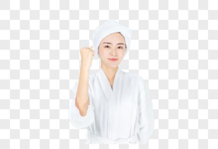 浴袍美女加油图片