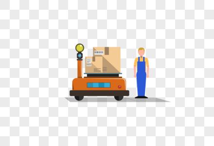快递货物与物流工人图片