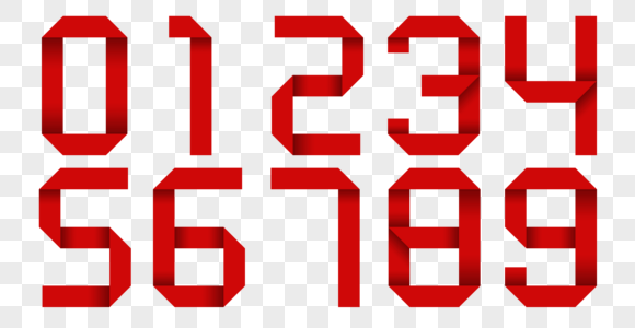 红色阿拉伯数字折纸图片