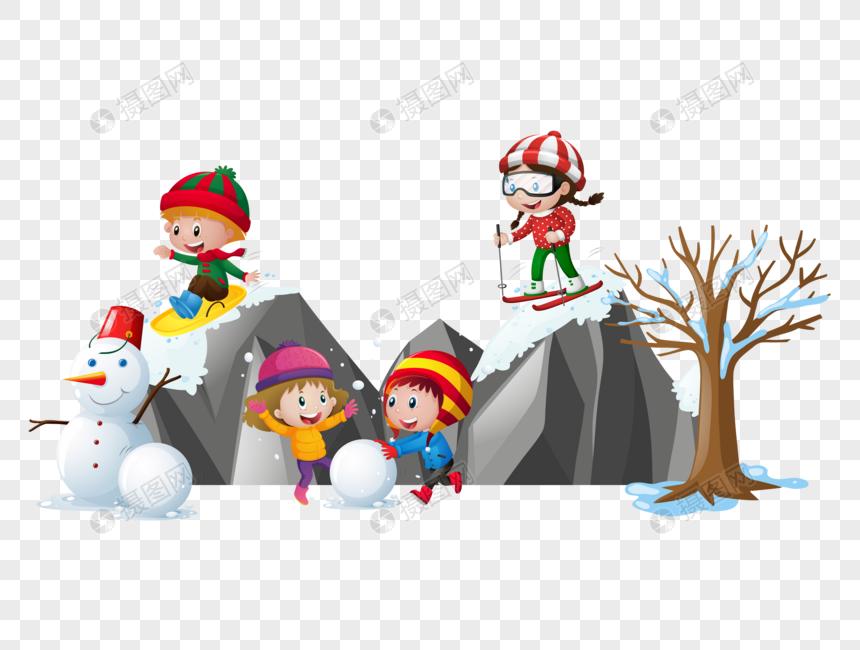 冬天孩子户外活动图片