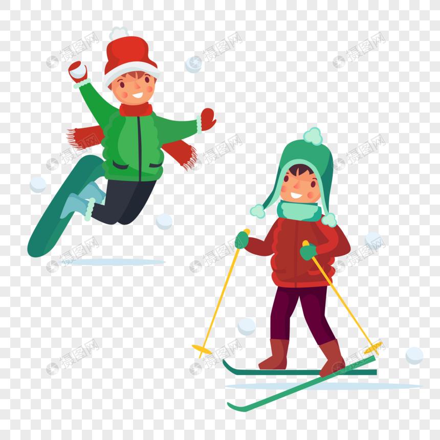 简约创意冬天滑雪运动图片