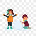 简约卡通冬天户外堆雪人图片