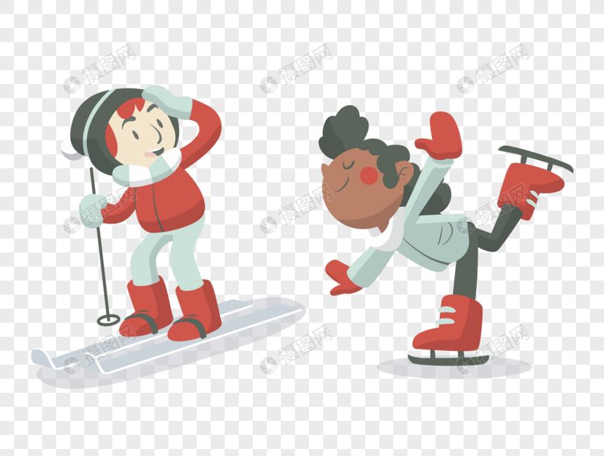 冬天雪地上滑雪的孩子们图片