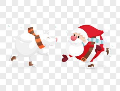 可爱圣诞老人与小熊溜冰图片