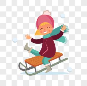 玩雪橇的女孩图片