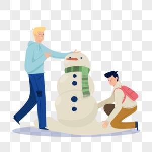 冬天户外堆雪人的人们图片
