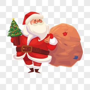 抱着圣诞树的圣诞老人图片