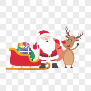 驾着车的圣诞老人图片