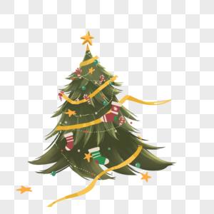 圣诞树上挂满圣诞袜图片