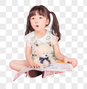 可爱女生抱着小熊读书图片