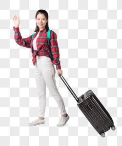 背着书包拉着行李箱的年轻女性图片
